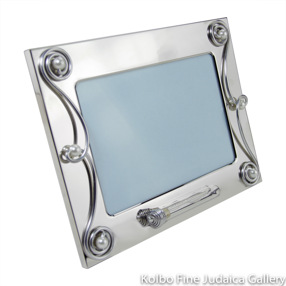 Picture Frame for 5'' x 7'' Photo, Silver Plated, Scroll Design with Tube on Front for Wedding Shards