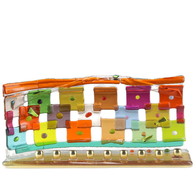 Menorah, Rainbow Quilt Design, Small, Multicolor Fused Glass With Beads, Amber Base
