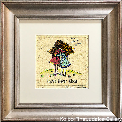 You're Never Alone, Two Girls, Mini, Hand-Painted, Framed