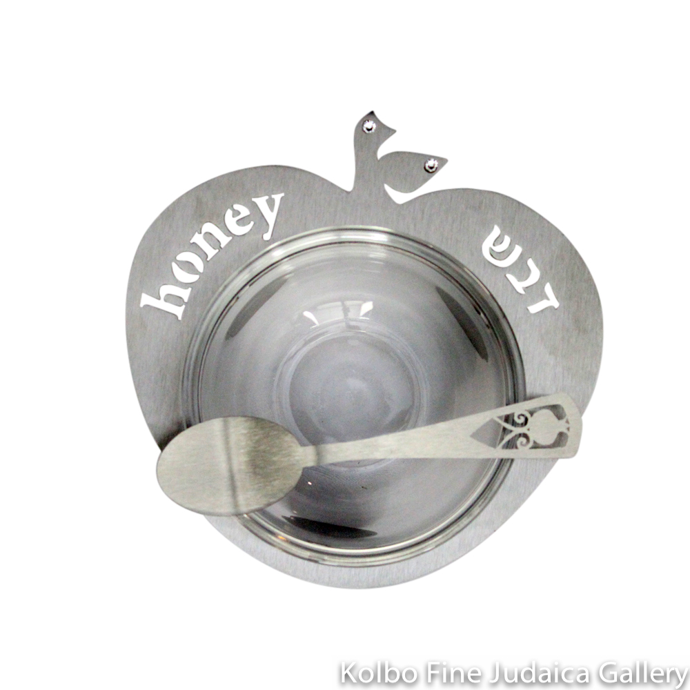 Honey Dish, Apple Design with Bowl and Spoon, Silver Anodized Aluminum with Glass Bowl