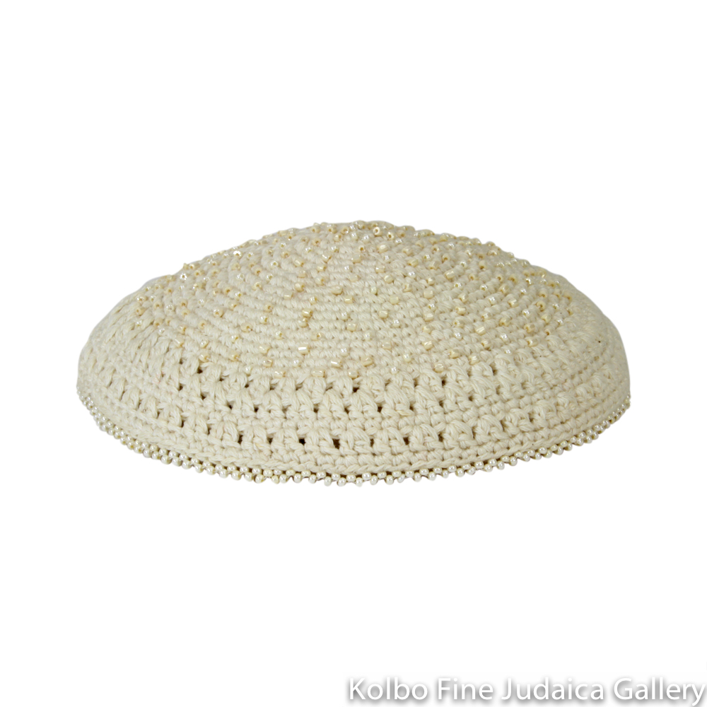 Kippah, Ivory, Dotted Beading, Fair Trade