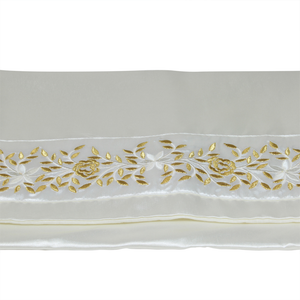 Tallit Set, Embroidered Vine Design in Gold on White Brushed Cotton