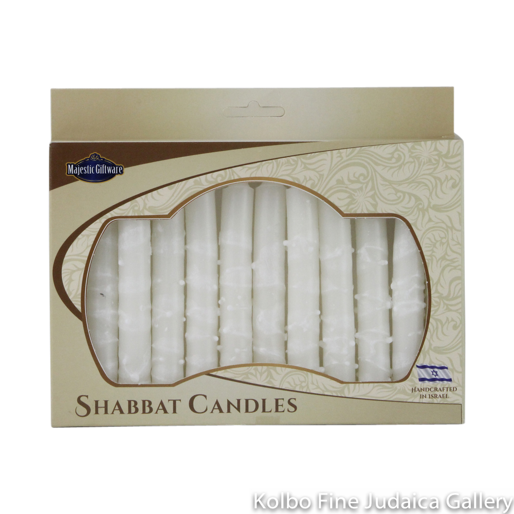 Shabbat Candles, White, Box of 12, Unscented Dripless Paraffin