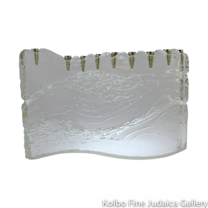 Menorah, S Shape in Clear Glass