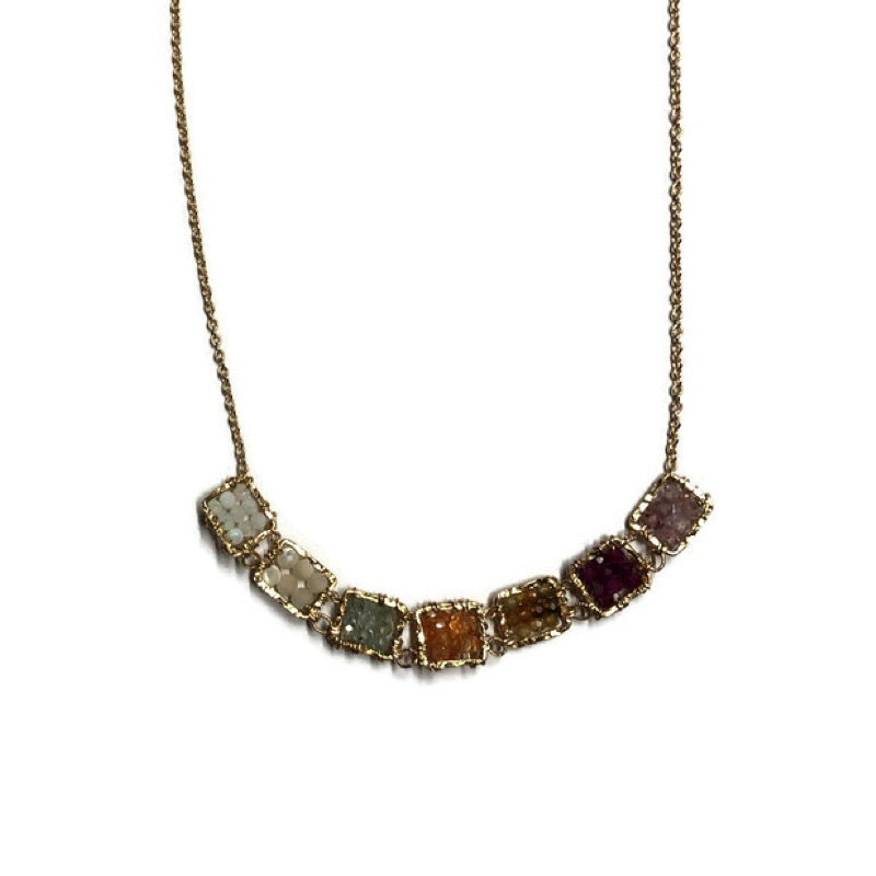 Necklace, Seven Beaded Squares of Multicolor Sapphire Stones on Gold-Filled Chain
