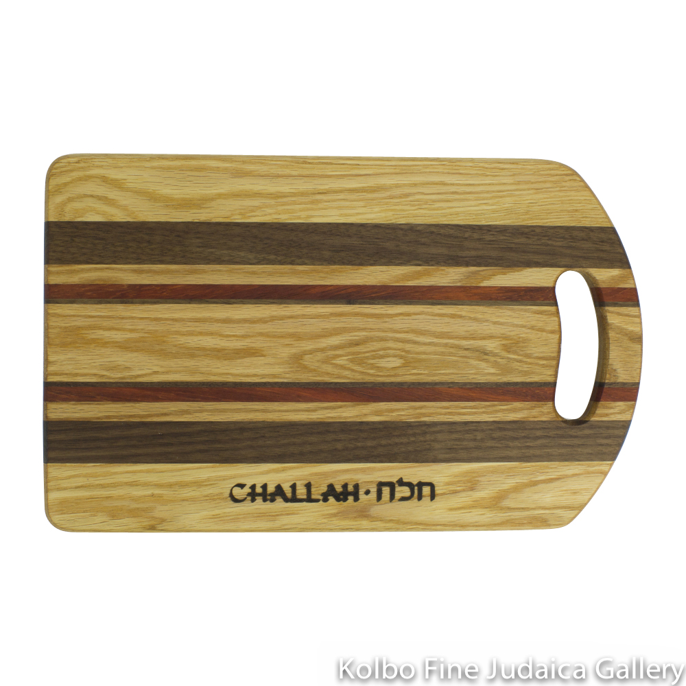 Challah Board, Wooden Rectangle with Stripes, Cutout Handle