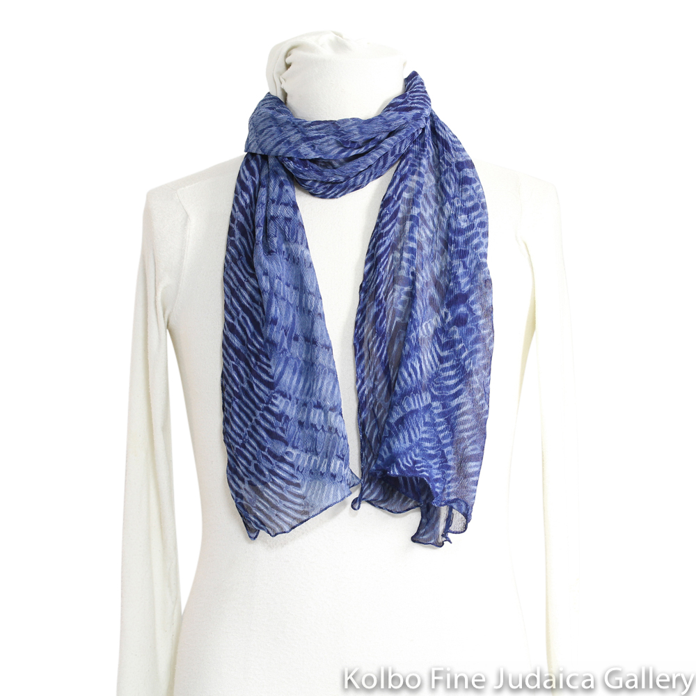 Scarf, Patterned Silk Chiffon, Indigo Blue Natural Dyes