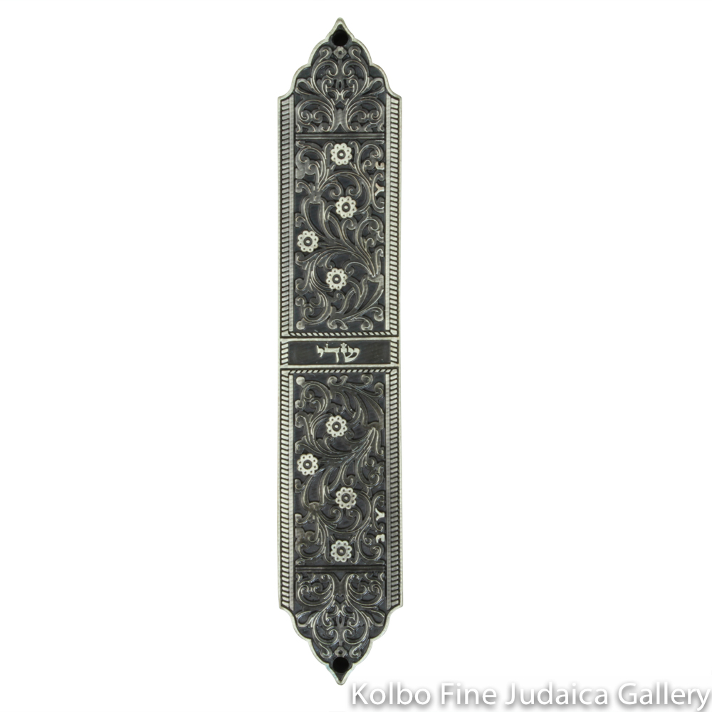 Mezuzah, Moroccan Floral Design in Pewter, Israel Museum Collection