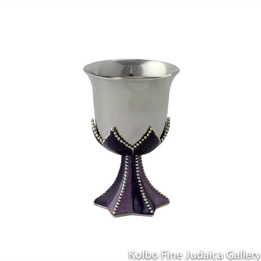 Child's Kiddush Cup, Star of David Design in Purple, Pewter with Enamel