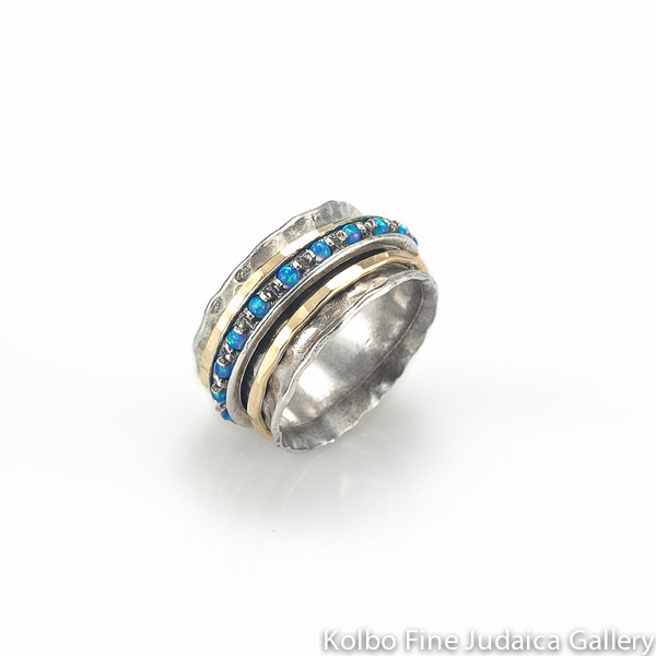 Ring, Wide Sterling Silver Band with Opal and Gold-Filled Spinners
