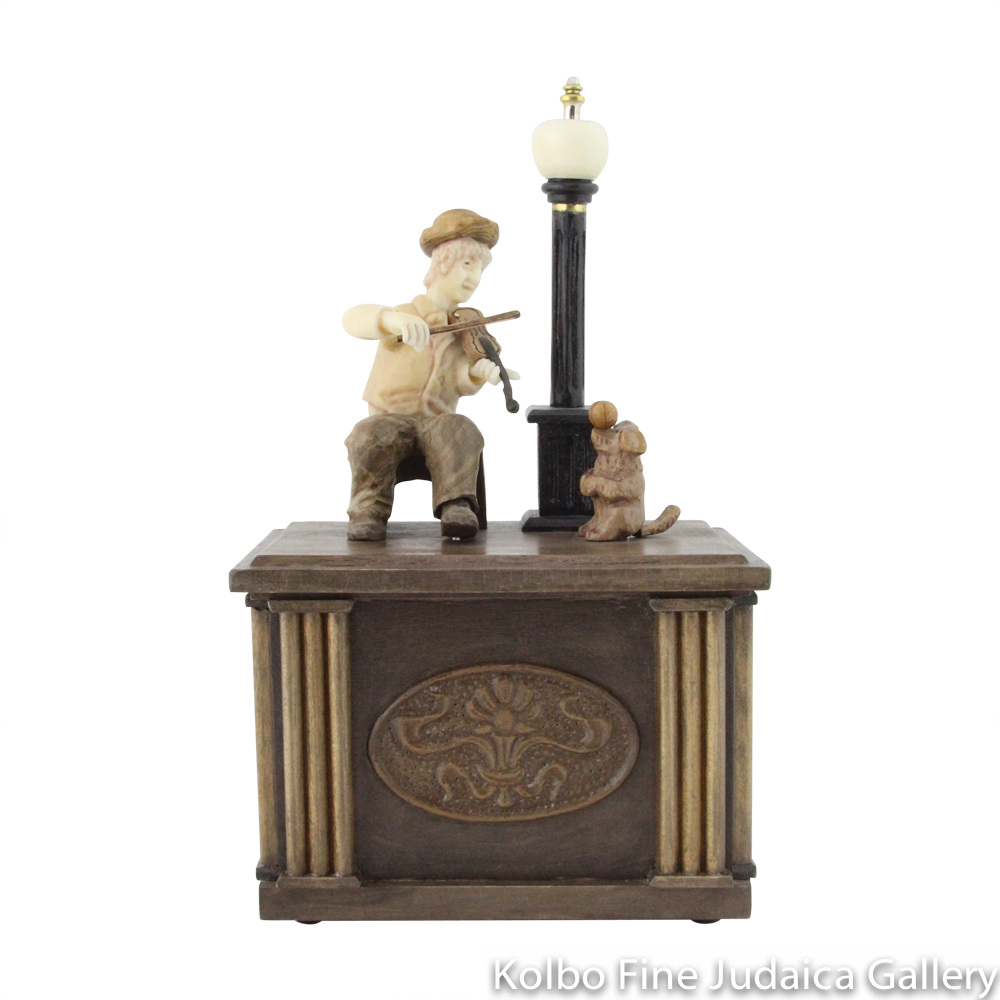 Collectable, Music Box, Violin Player and His Dog, Hand-Carved from Tagua Nut and Wood