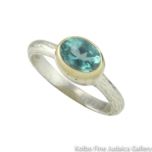 Ring, Blue Apatite Stone, 9K Gold and Sterling Silver
