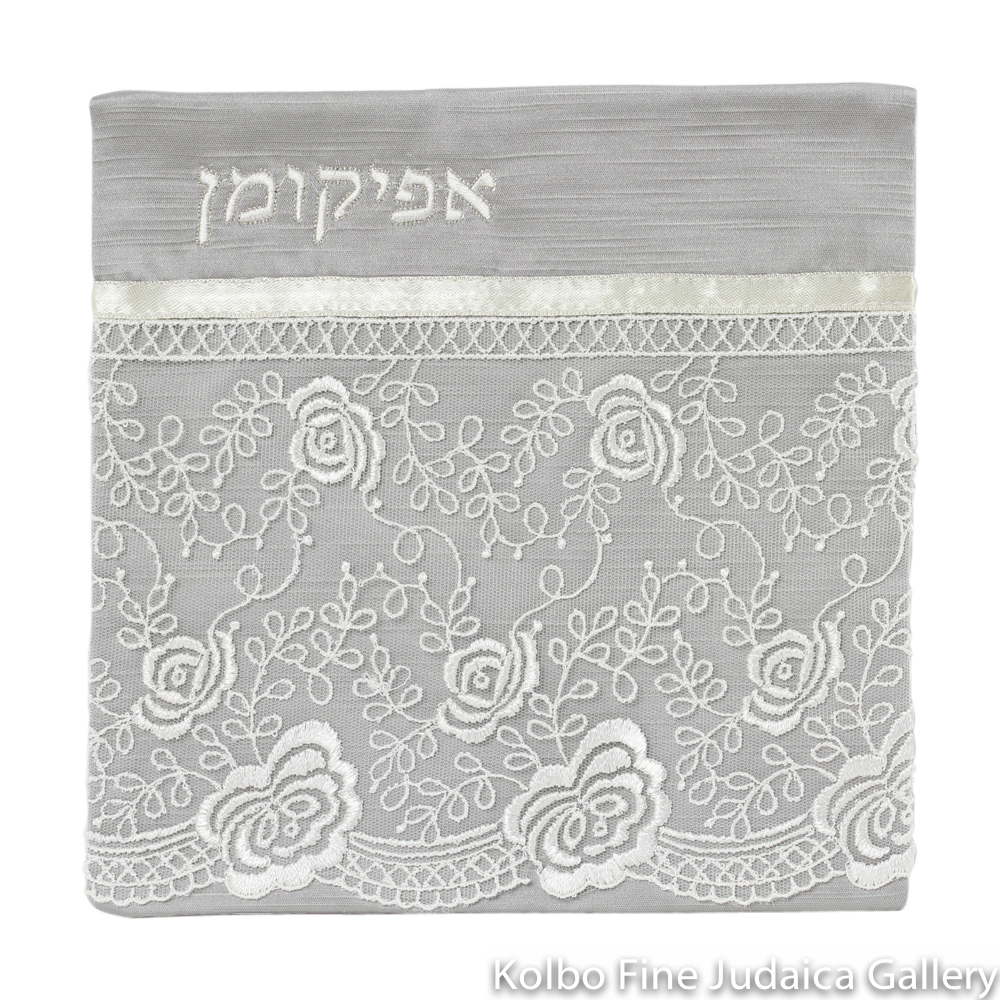 Afikomen Cover, Gray with White Floral Lace Design