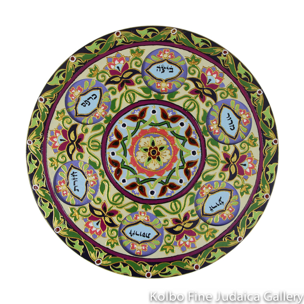 Seder Plate, Hand-Painted Wood with Glass Bowls, Floral Design with Jewel Tones, One-of-a-Kind, #25