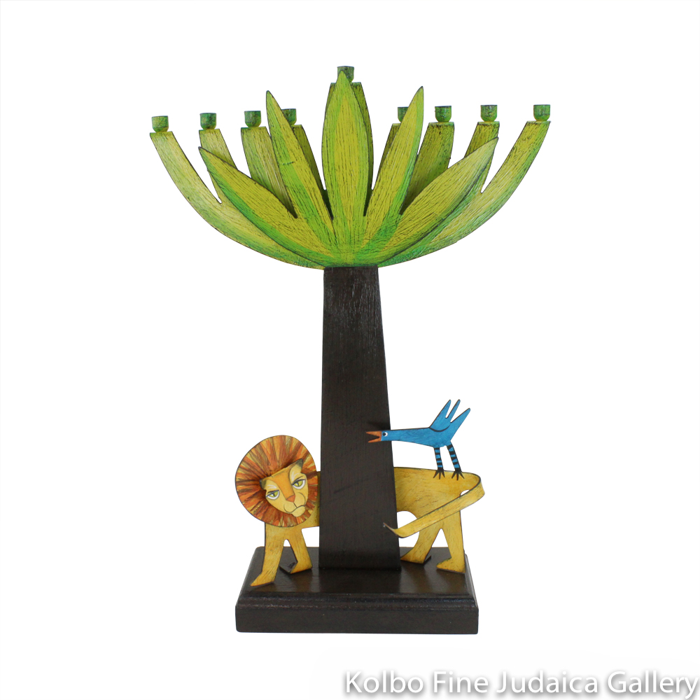 Menorah, Tree with Lion, Hand-Painted Metal