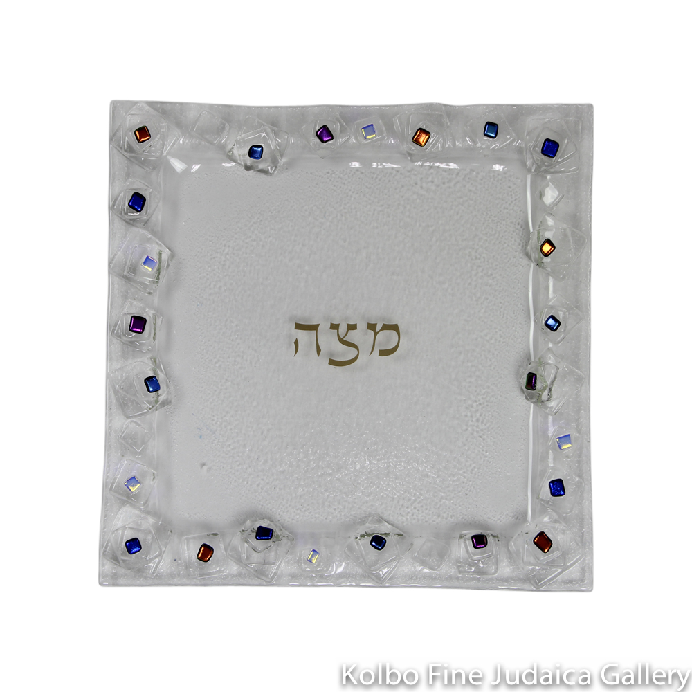 Matzah Plate, Geo Design, Clear Glass with Dichroic Accents
