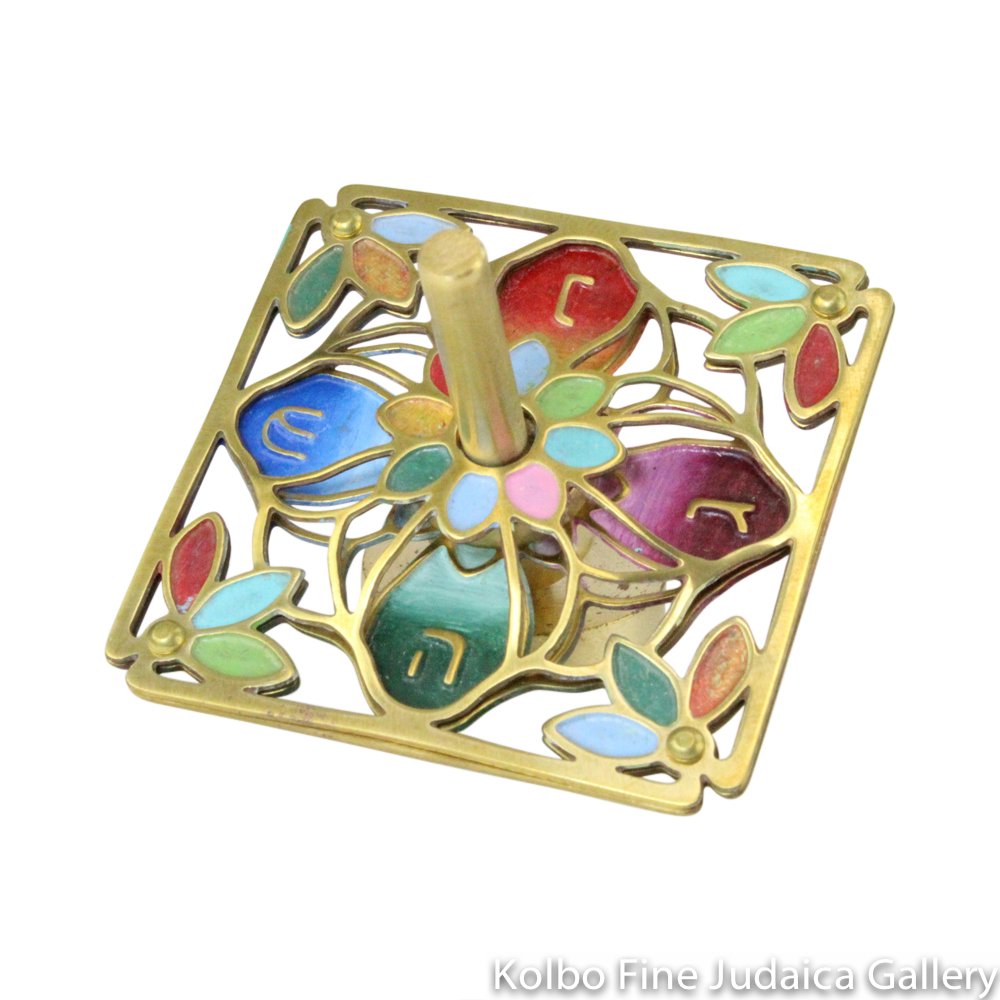 Dreidel, Flower Design, Painted Multicolor Enamel on Hand-Crafted Brass