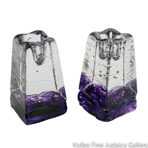 Candlesticks, Clear Glass Obelisk with Purple Detail