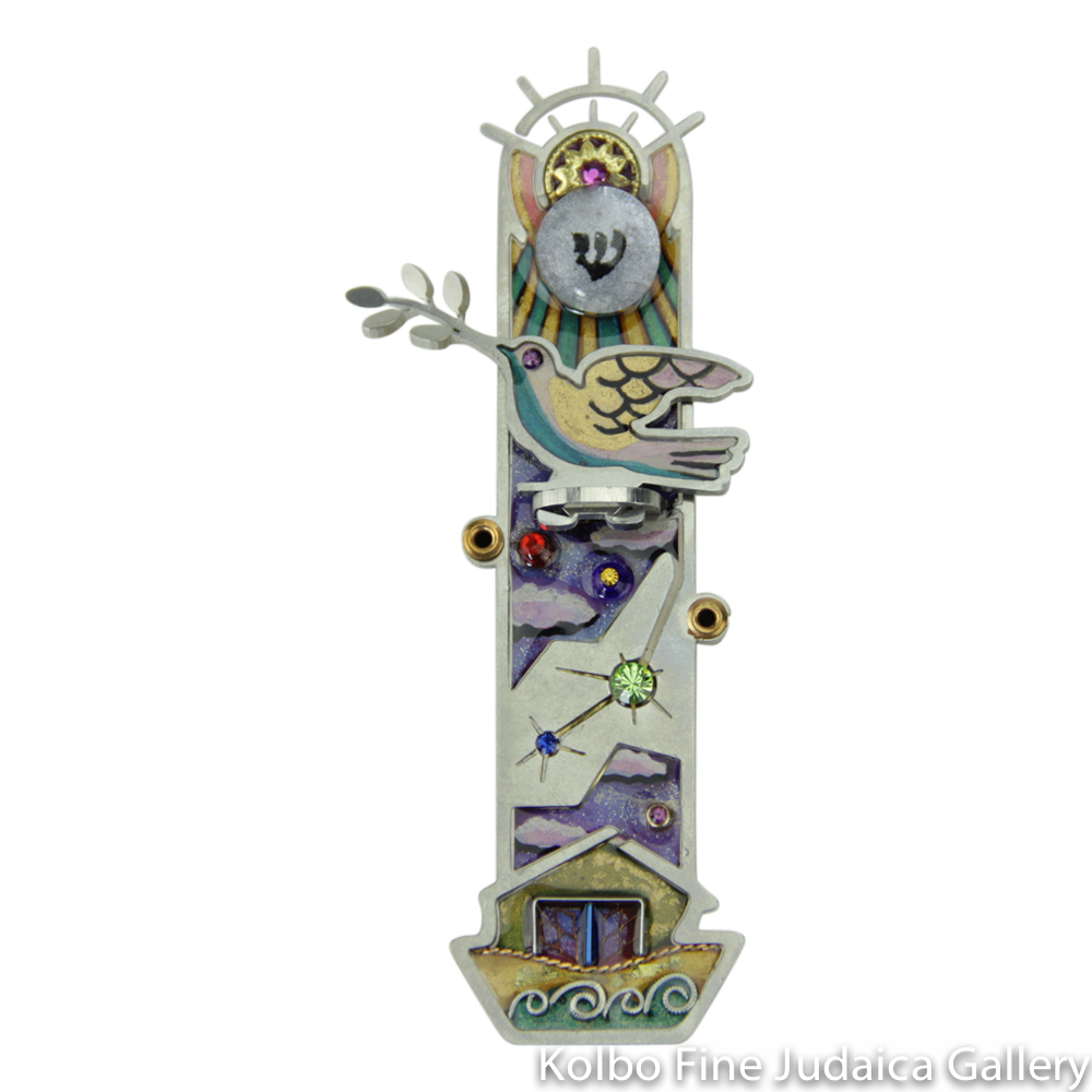 Mezuzah, Noah's Ark Design with Dove, Resin on Stainless Steel with Crystals