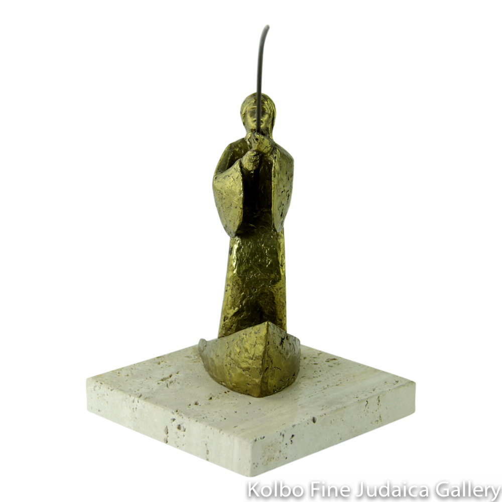 Fisherman, Bronze Sculpture on Marble Base, 7'', Limited Edition of 18 Pieces
