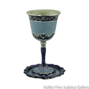 Kiddush Cup and Saucer, Blue Design, Pewter with Enamel and Swarovski Crystals