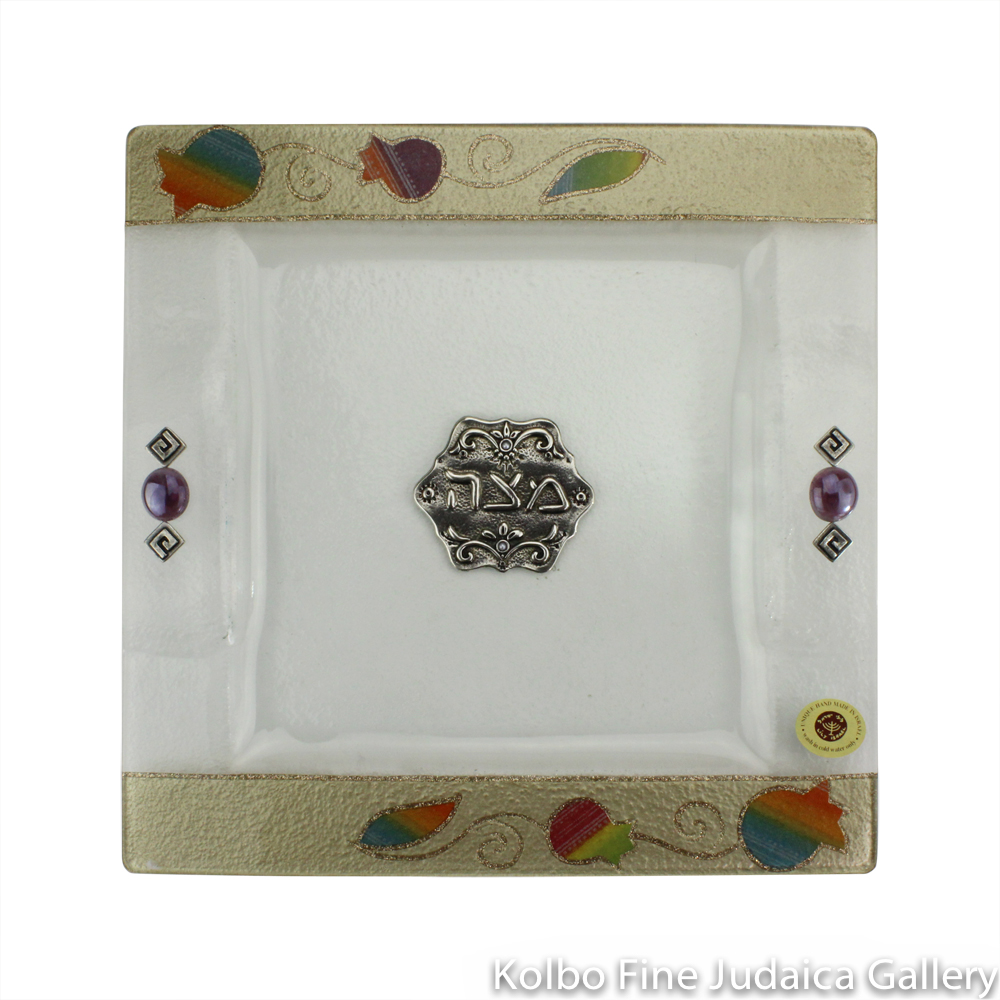 Matzah Plate, Glass, Rainbow-Colored Pomegranate Design