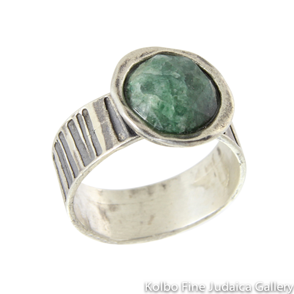 Ring, Wide Striped Band of Sterling Silver, Large Green Corundum Stone