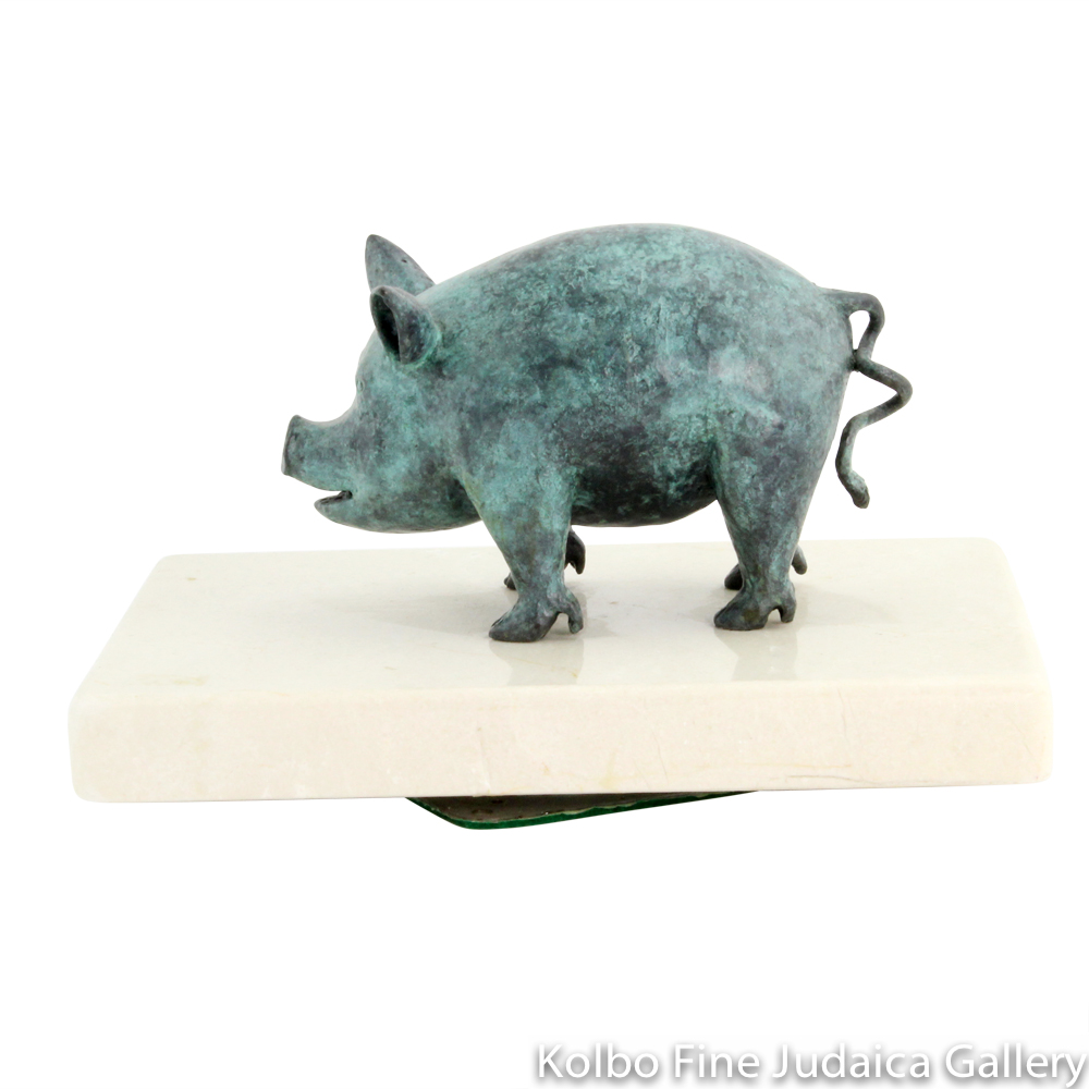 Little Piggy, Sculpture on Marble Base, 5'', Numbered Edition