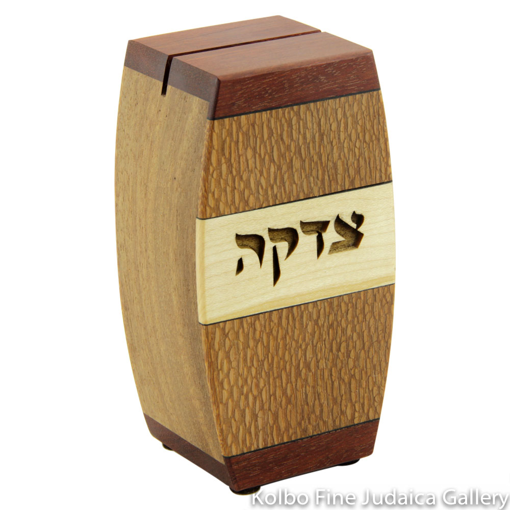 Tzedakah Box, Arc Design, Mixed Woods
