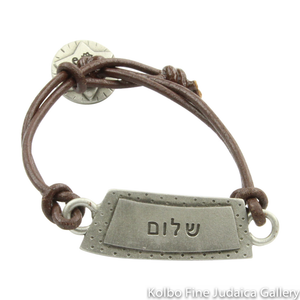 Bracelet, Peace Design in Hebrew and English, Pewter with Leather Cord