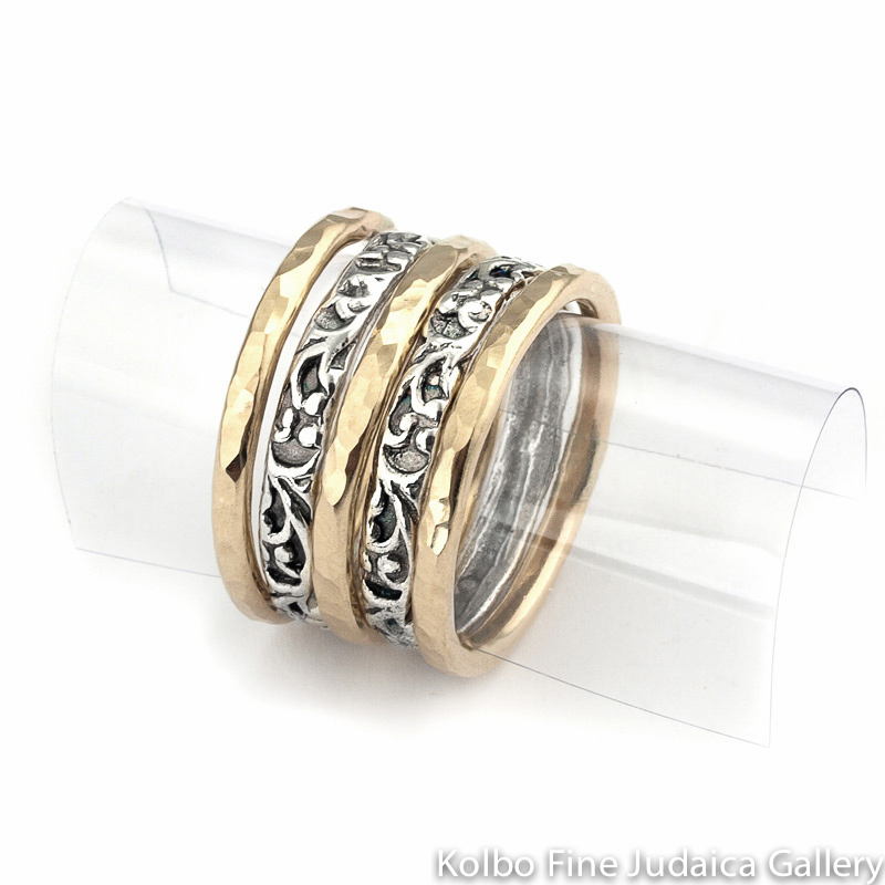 Ring Set, Thin Hammered Bands, Gold-Filled and Filigreed Sterling Silver