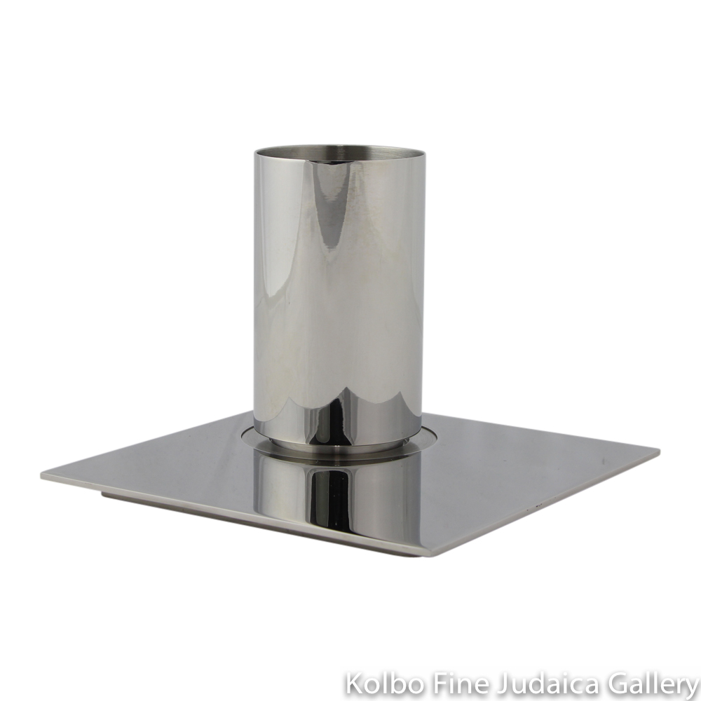 Kiddush Cup and Plate, Sleek Modern Design, Polished Stainless Steel