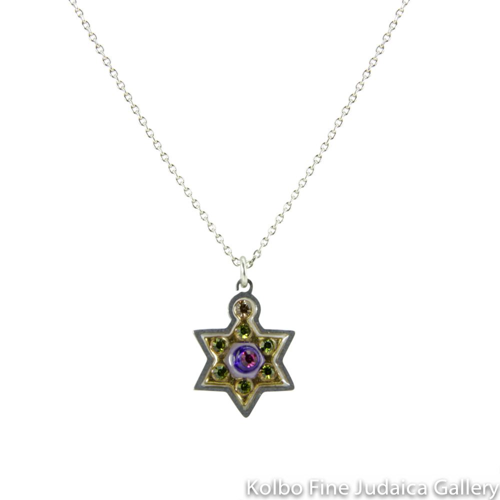Necklace, Star of David in Gold, Resin on Stainless Steel with Crystals