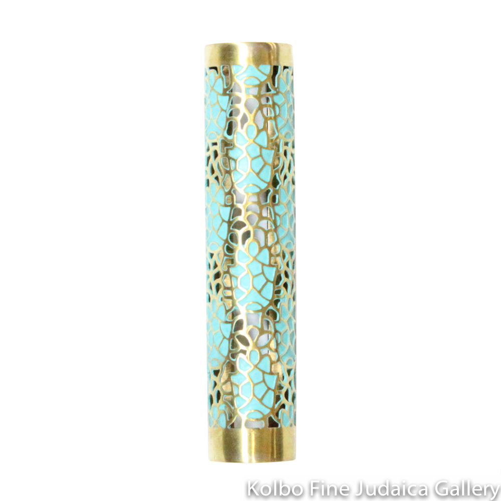 Mezuzah, Patina Hamsa Design, Hand-Crafted Brass, Tubular with Tape Backing