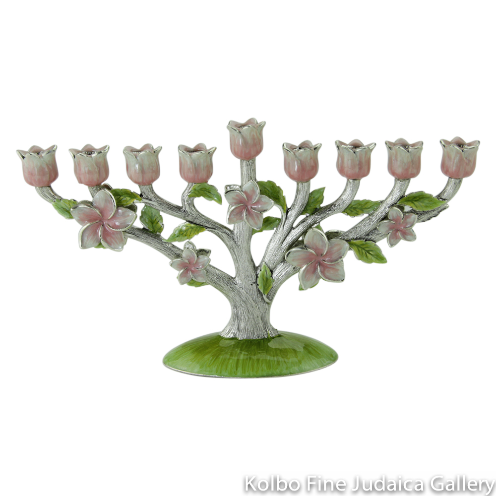 Menorah, Pink and Green Floral Tree Design, Pewter with Enamel