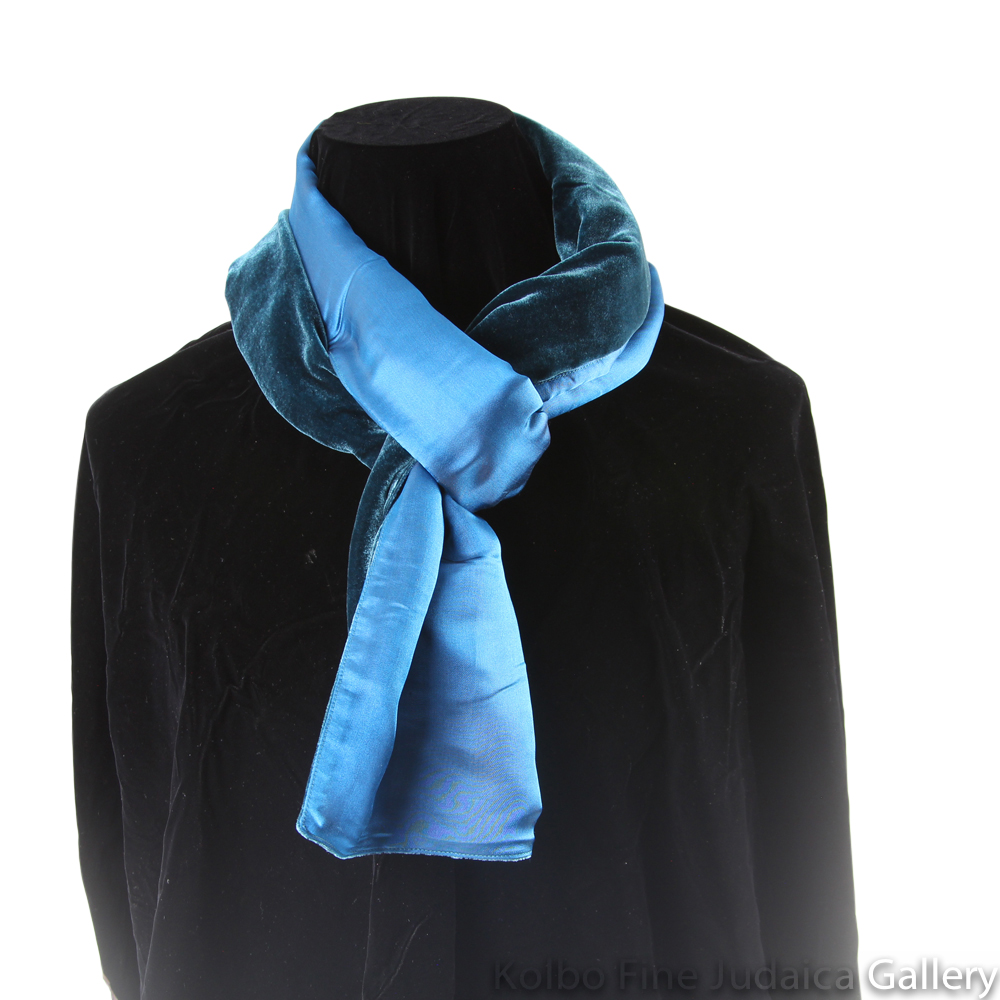 Scarf, Teal and Blue Two-Tone Design, Velvet and Silk, Hand-Made