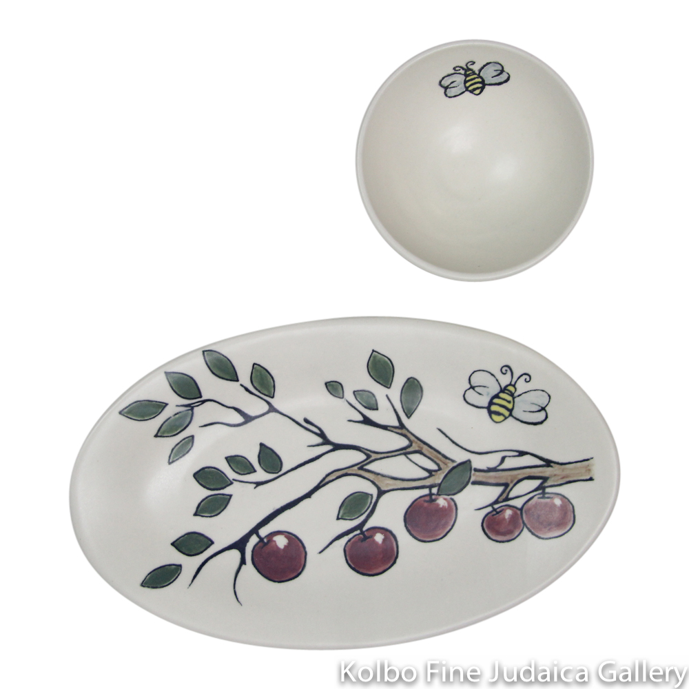 Honey and Apple Set, Hand-Painted Ceramic with Apple Branch Design, Oval, Kolbo Exclusive