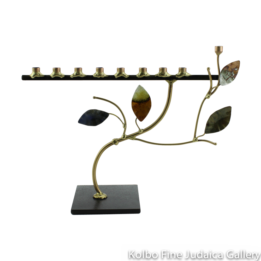 Menorah, Four Enamel Leaves on Branch, Even Height, Copper and Brass