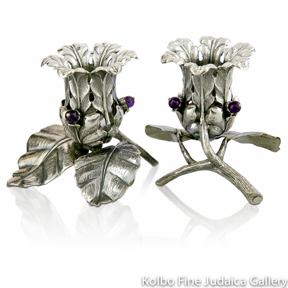 Candlesticks, Sterling Silver with Amethysts, Modern Flower Design with Branch and Leaf Base