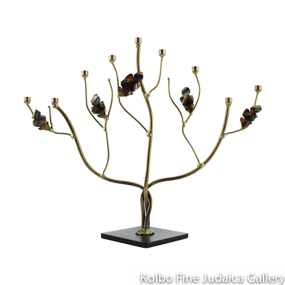 Menorah, Tree of Life with Curled Metallic Leaves, Brass and Copper
