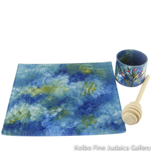 Honey and Apple Set, Hand-Painted Glass with Apple Tree on Cup in Blue and Green Tones