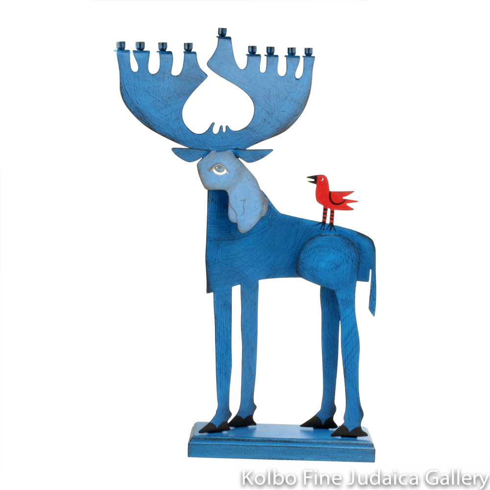 Menorah, Moose Design, Painted Metal on Wooden Base
