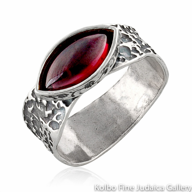 Ring, Wide, Textured Sterling Silver Band, Eye-Shaped Garnet