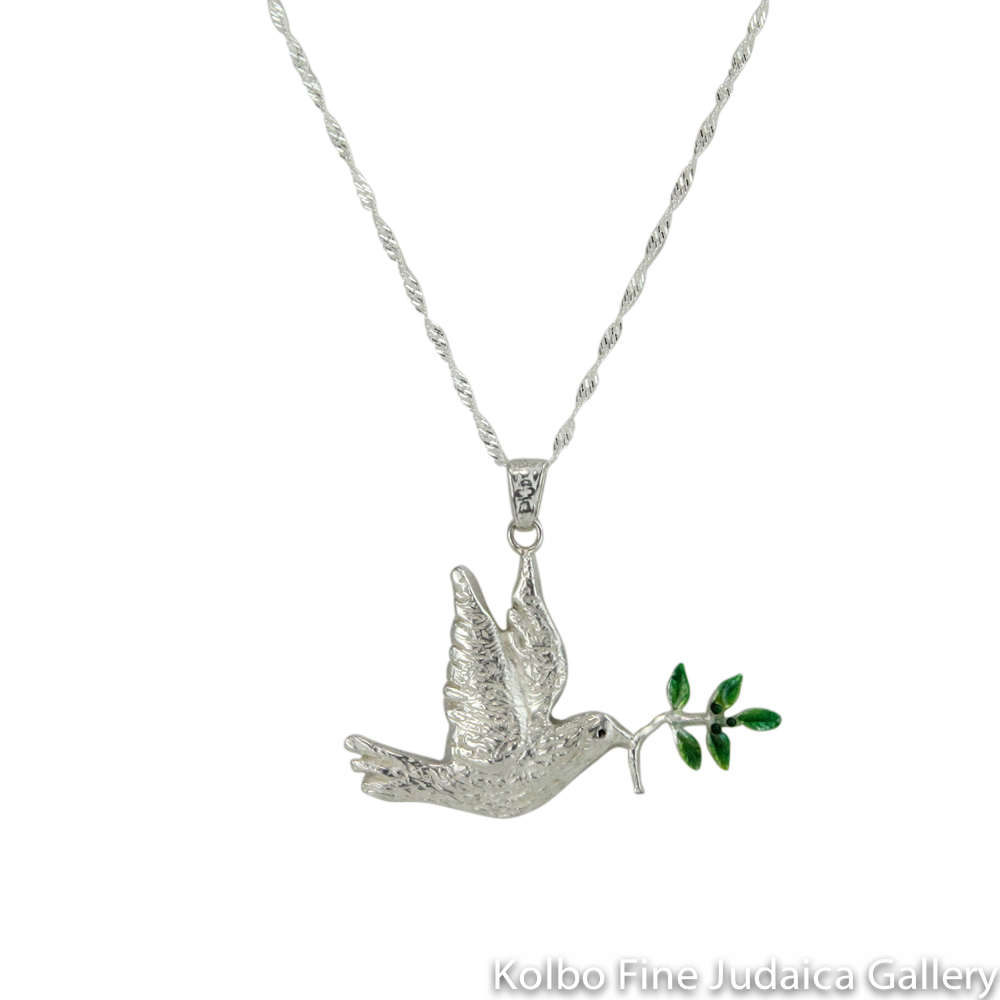 Necklace, Dove with Olive Branch, Hand-Crafted Sterling Silver and Enamel, Each Unique