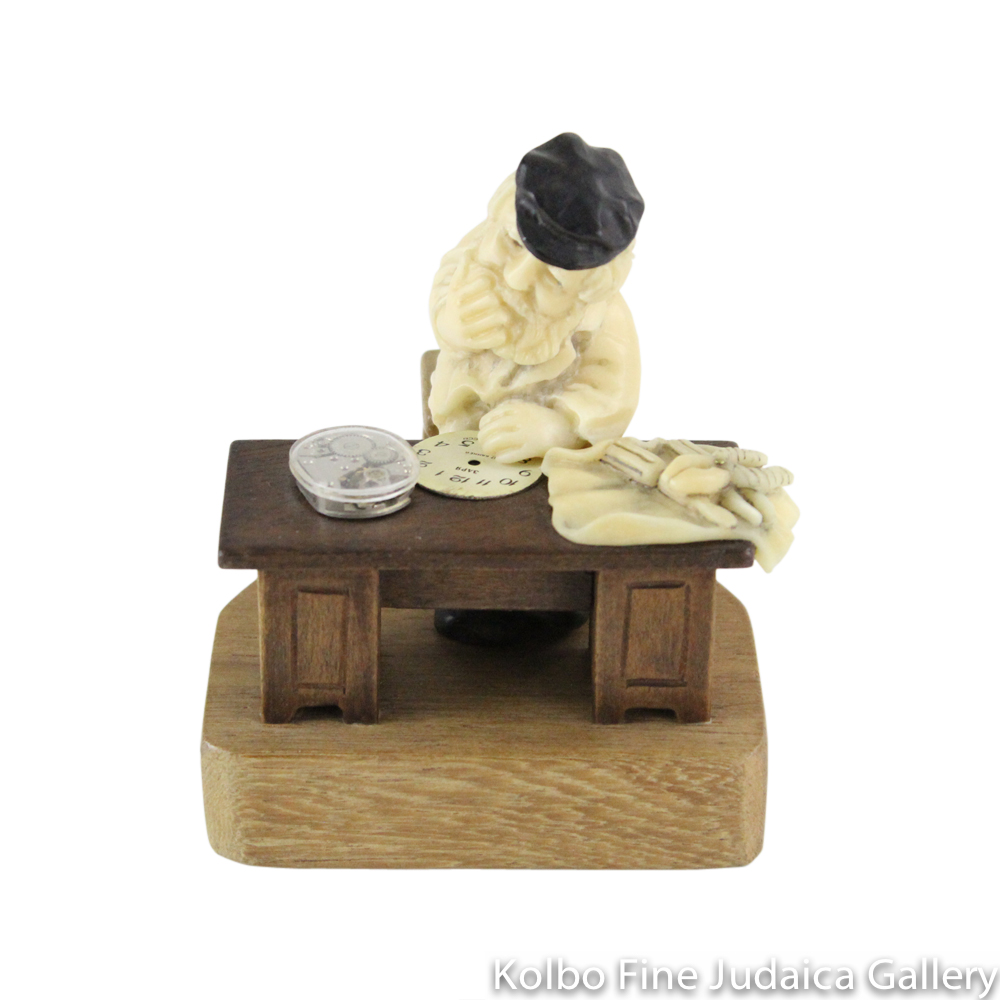 Collectable, Clockmaker in Shtetl Scene, Hand-Carved from Tagua Nut and Wood