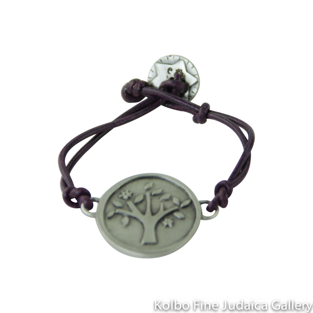 Bracelet, Tree of Life Design, Pewter with Leather Cord
