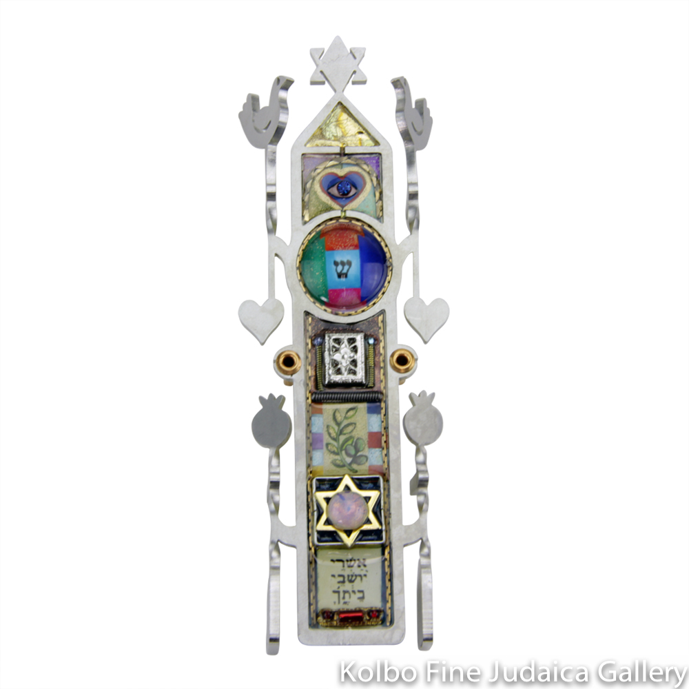 Mezuzah, Blessing Design with Hearts and Pomegranates, Resin on Stainless Steel