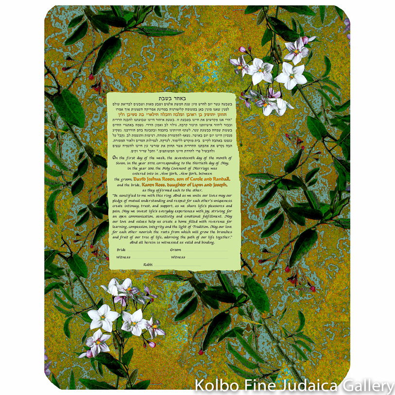 Asian White Flowers Ketubah
