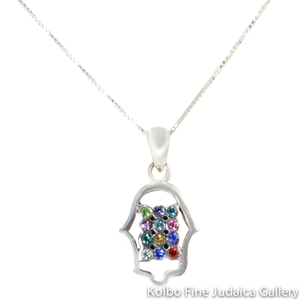Necklace, Hamsa, Twelve Tribes Style with Colorful Stones, Sterling Silver