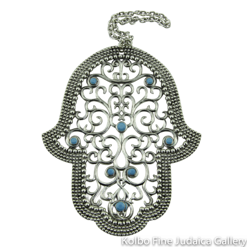 Hamsa for the Wall, Atika Design, Pewter with Teal Stones